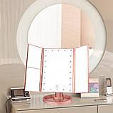 Потрійне дзеркало рожеве з віконницями Led miror, фото 6