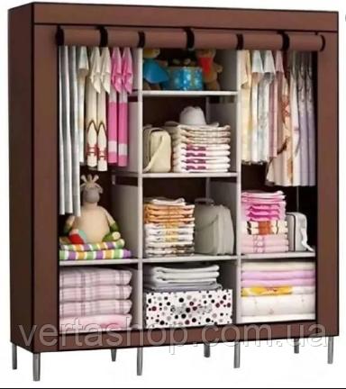 Складной тканевый шкаф 88130 коричневый| Каркасный складной шкаф на 3 секции