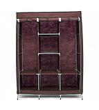 Складной тканевый шкаф 88130 коричневый| Каркасный складной шкаф на 3 секции, фото 4