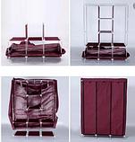 Складной тканевый шкаф 88130 коричневый| Каркасный складной шкаф на 3 секции, фото 5