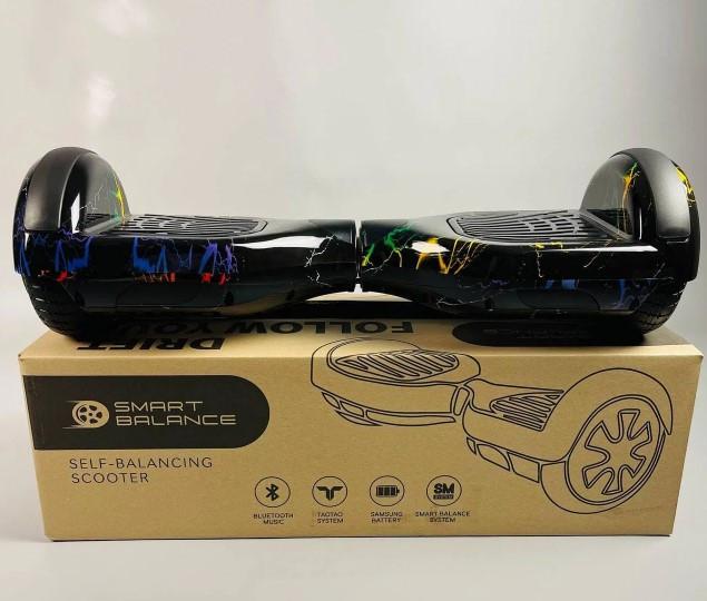 Гироборд Smart Balance Гироскутер 6,5 дюймов от 4х лет Цветная молния + ПОДАРОК СУМОЧКА