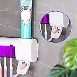 Держатель диспенсер для зубных щеток и пасты настенный автоматический УФ-стерилизатор Toothbrush Sterilizer JX, фото 7