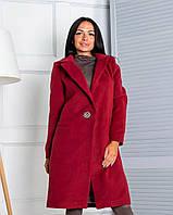 Пальто жіноче бордове, 913-027-55