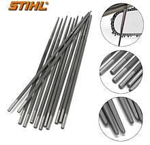 Круглый напильник STIHL (Ø4,0 мм х 200мм) с деревянной ручкой   напильник Штиль для пильных цепей с шагом 3/8