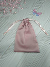 Подарунковий мішечок з шовку Армані 13*18 см (шовковий мішечок, мішечок для прикрас) колір - пудра
