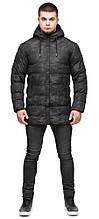 Молодіжна чоловіча куртка дизайнерська зимова в стилі мілітарі чорна модель 25380 (ЗАЛИШИВСЯ ТІЛЬКИ 52(XL))