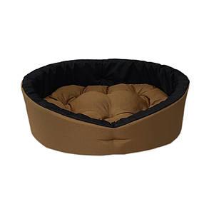 Лежанка для домашних питомцев, животных. Лежак для собак и кошек со съемной подушкой. Цвет: Койот + черный L