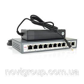 8ми портовий PoE Гбіт комутатор ONV-POE33108P, 8xPoe1000Мбіт + 2х1000 Мбіт, IEEE802.3af / at, загальна