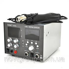 Паяльна станція BAKKU BA-9305L цифрова індикація, фен, паяльник, БЖ DC 0-30В, 5A (335*300*235) 4,91 кг
