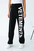 Трикотажні штани широкого крою з великим написом Aqua fashion - чорний колір, S (є розміри) M
