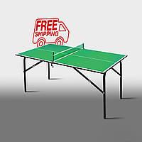 """Теннисный стол для помещений  """"Феникс"""" Kids зеленый"""