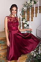 Бордовое вечернее платье из атласа