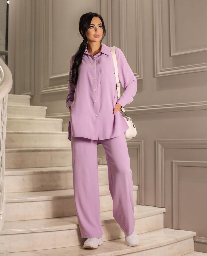 Жіночий костюм, американський креп - жатка, р-р 42-44; 46-48; 50-52 (ліловий)