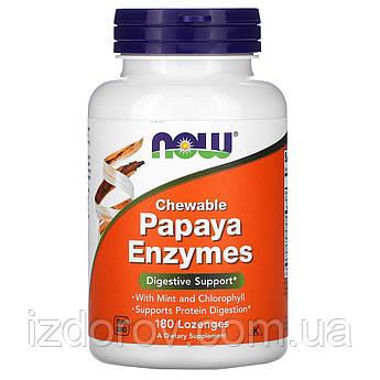 Now Foods, Жевательные ферменты папайи, Papaya Enzymes, 180 пастилок для рассасывания