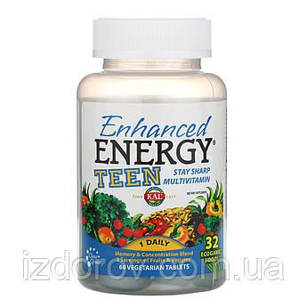 KAL, Enhanced Energy, Для підлітків, Суміш для поліпшення пам'яті і концентрації, 60 таблеток вегетаріанських
