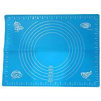 Коврик силиконовый для выпечки и раскатки теста 38 * 28см голубой