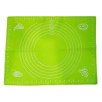 Коврик силиконовый для выпечки и раскатки теста 38 * 28см салатовый