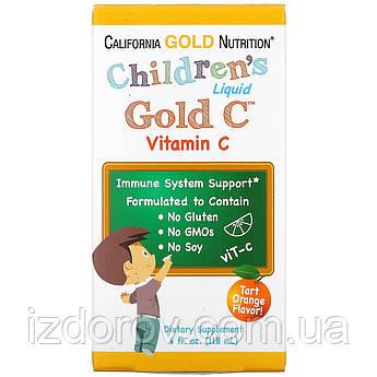 California Gold Nutrition, Витамин C в жидкой форме для детей, со вкусом терпкого апельсина, 118 мл