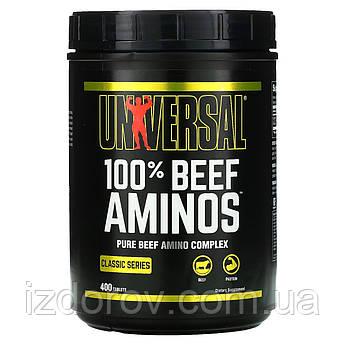 Universal Nutrition, 100% Beef Aminos, Комплекс амінокислот з яловичини, 400 таблеток. США
