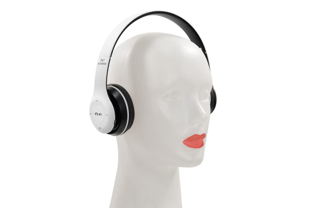 Наушники беспроводные P47 Bluetooth бело-черные