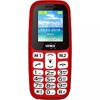 """Кнопочный телефон бюджетный красный с фонариком на 2 сим карты Verico A183 1.77"""" АКБ 600 мА*ч Red"""