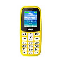 """Кнопочный телефон бюджетный красный с фонариком на 2 сим карты Verico A183 1.77"""" АКБ 600 мА*ч Yellow"""