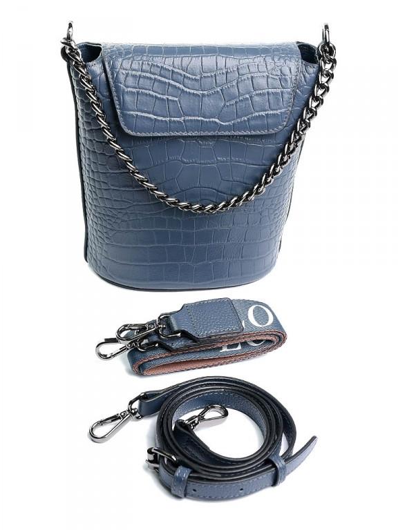Женская сумка кожаная NO-8661 синяя