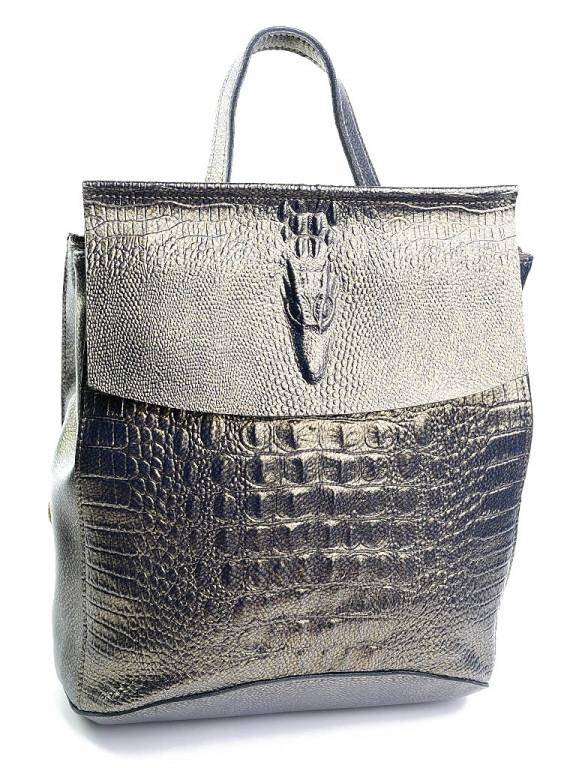 Жіноча шкіряна сумка-рюкзак 8504-7 бронзова