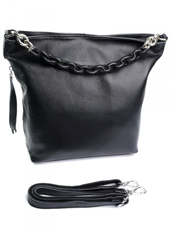Жіноча сумка шкіряна чорна 8798-9