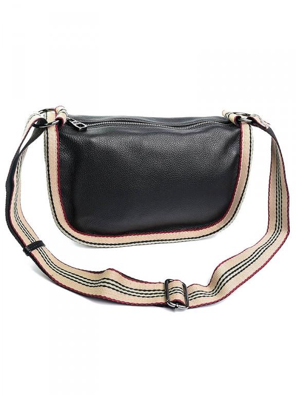 Жіноча сумка шкіряна чорна 1488