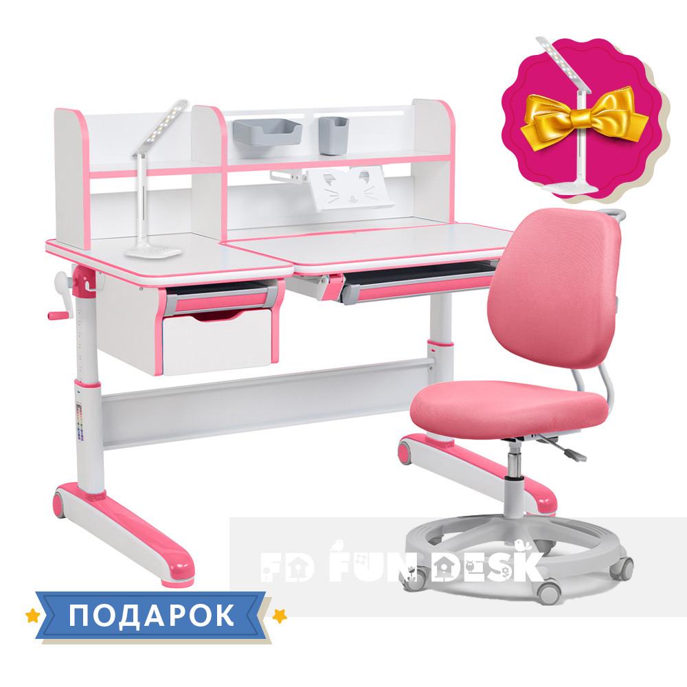 Комплект для девочки стол-трансформер Libro Pink + эргономичное кресло FunDesk Pratico Pink