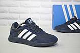 Кросівки чоловічі сині текстиль і натуральний замш в стилі Adidas iniki runner, фото 3