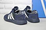 Кросівки чоловічі сині текстиль і натуральний замш в стилі Adidas iniki runner, фото 2