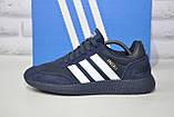 Кросівки чоловічі сині текстиль і натуральний замш в стилі Adidas iniki runner, фото 4