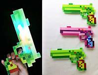 Большой детский пистолет Minecraft MW2221,25х15 см,свет звук