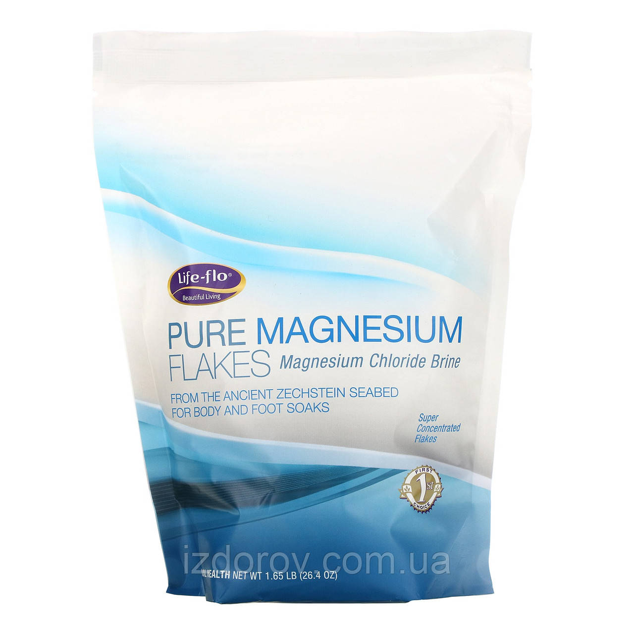 Life-flo, Чистые магниевые хлопья, рассол хлорида магния, Pure Magnesium, 1,65 фунта, 0,9 кг
