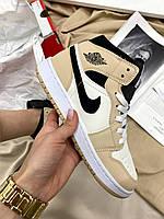Женские кроссовки Nike Air Jordan Retro High Beige/Black, фото 1