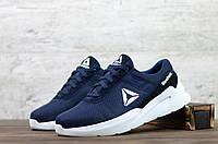 Літні кросівки Reebok сітка сині на білій підошві чоловічі рібок