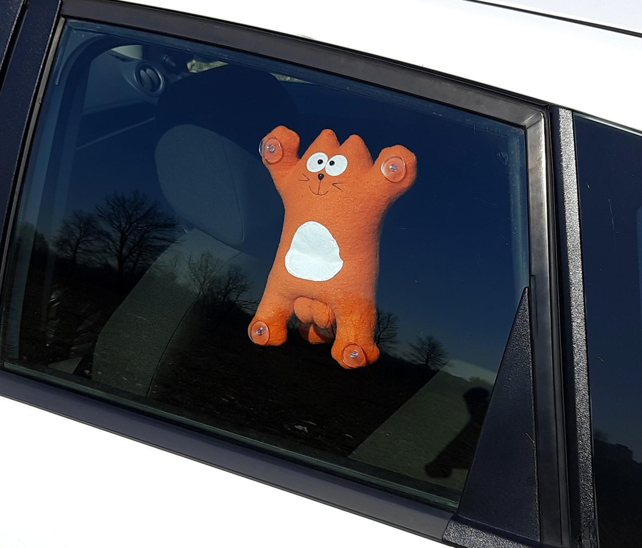 Саймон Кот рыжий на присосках - Сувенир в машину - Мягкая игрушка Кот Саймон - Подарок автомобилисту - фото 3