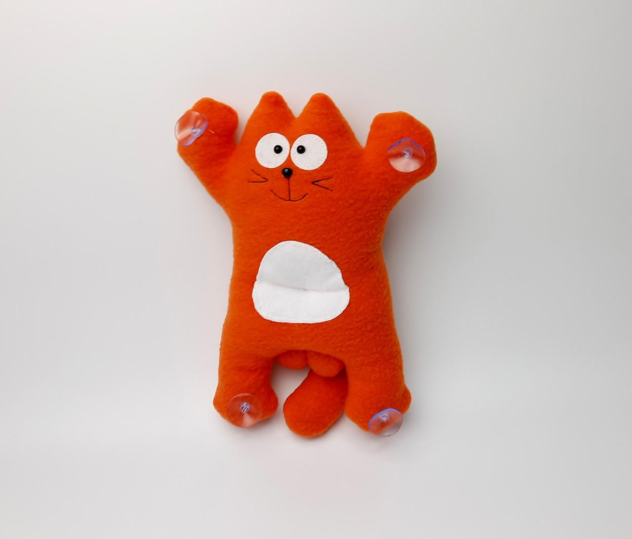Саймон Кот рыжий на присосках - Сувенир в машину - Мягкая игрушка Кот Саймон - Подарок автомобилисту - фото 2