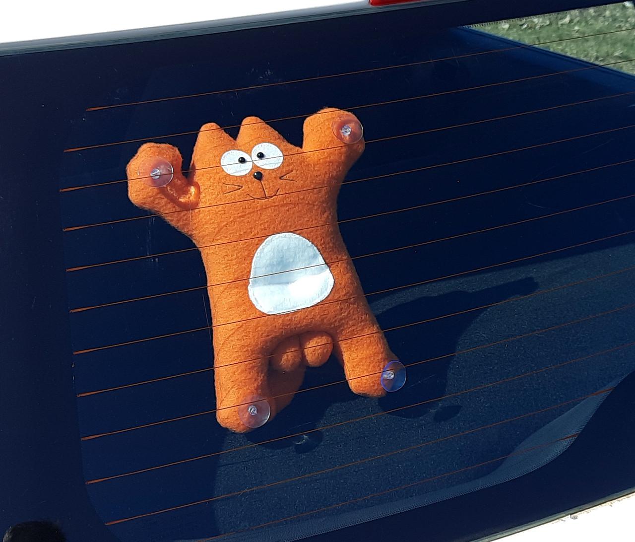 Саймон Кот рыжий на присосках - Сувенир в машину - Мягкая игрушка Кот Саймон - Подарок автомобилисту - фото 1