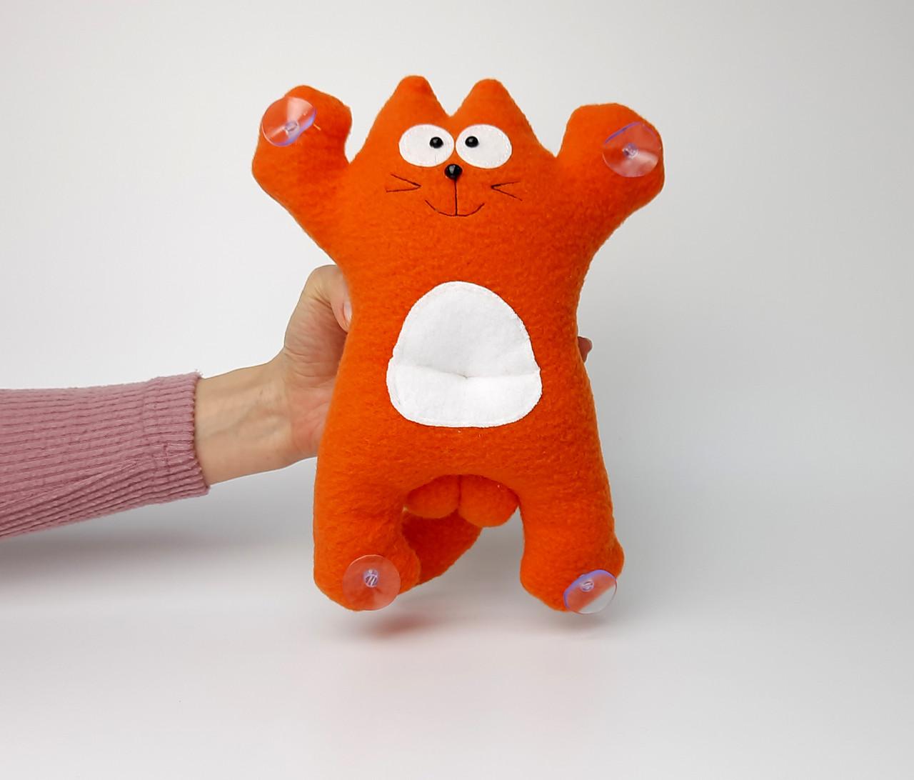 Саймон Кот рыжий на присосках - Сувенир в машину - Мягкая игрушка Кот Саймон - Подарок автомобилисту - фото 5