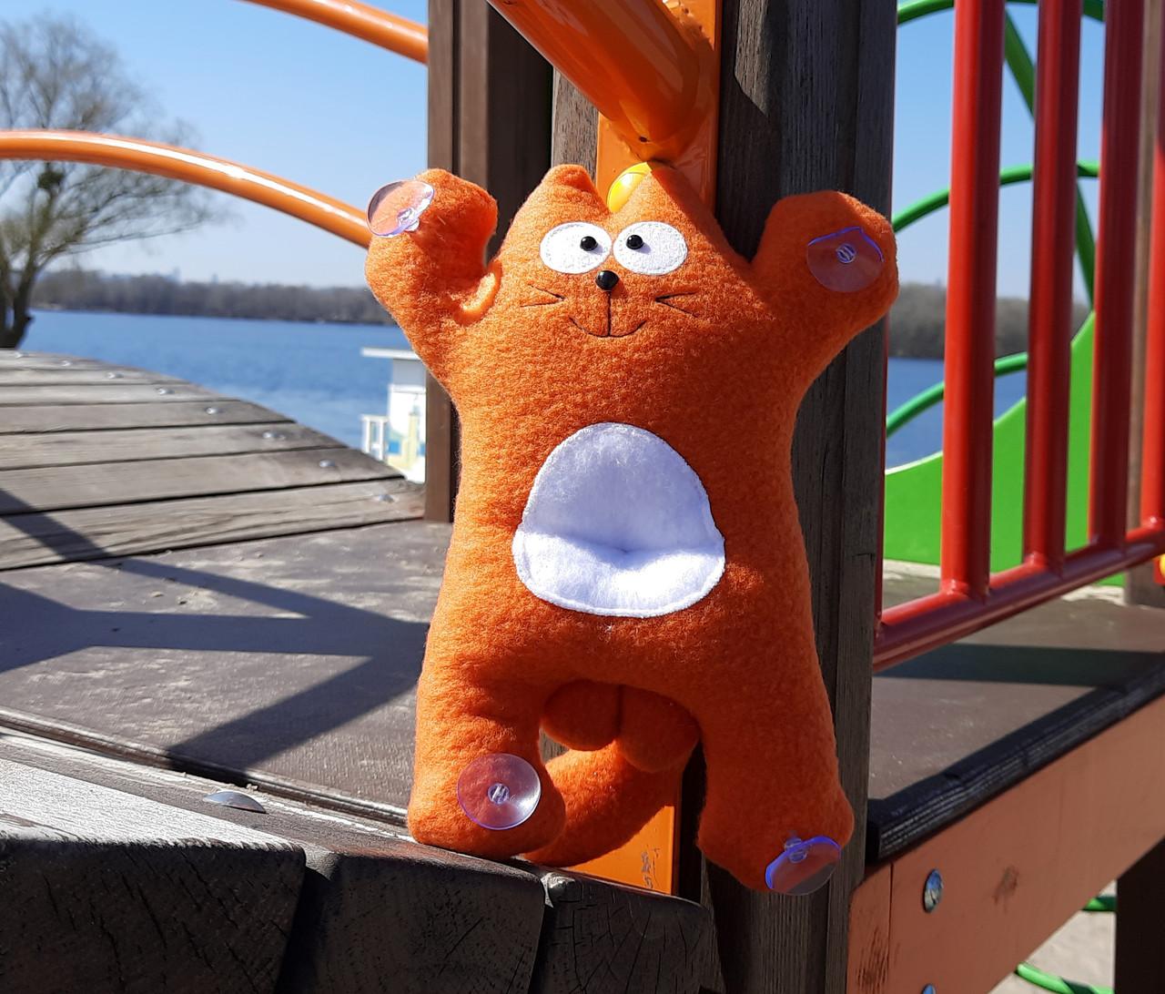 Саймон Кот рыжий на присосках - Сувенир в машину - Мягкая игрушка Кот Саймон - Подарок автомобилисту - фото 6