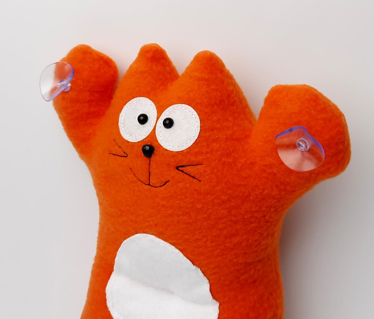 Саймон Кот рыжий на присосках - Сувенир в машину - Мягкая игрушка Кот Саймон - Подарок автомобилисту - фото 9