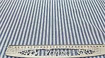 Нежная ткань лён (имитация льна) в бело-джинсовую полосу