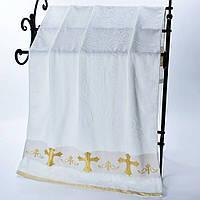 Мягкая махровая Крыжма 140 х 70 белого цвета с серебряной и золотой вышивкой, полотенце крестильное