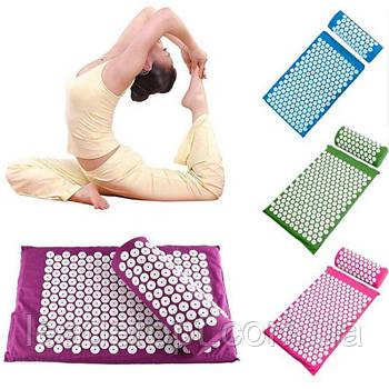 ОПТ Массажный акупунктурный коврик с подушкой массажер для спины/ног osport