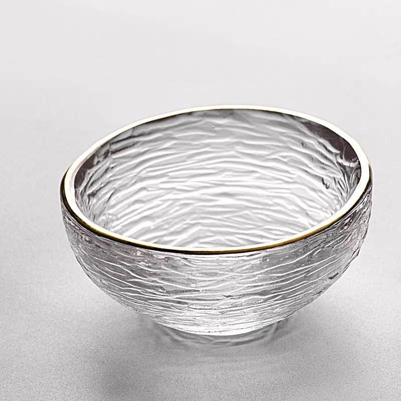 Скляна рифлена піала з золотим бортиком 50 мл