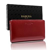Гаманець жіночий шкіряний на кнопках червоний Badura B-912-BSVT Red
