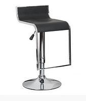 Черный стул-табурет Ж-8 на хром регулируемой опоре для барной стойки